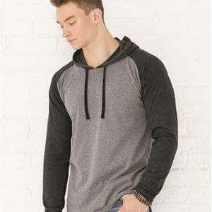 LAT Men's Raglan Long Sleeve Hoodie T-Shirt - 6917