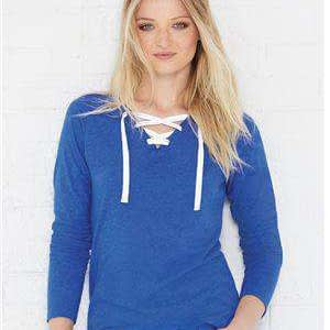 LAT Women's Jersey Lace-Up Long Sleeve T-Shirt - 3538