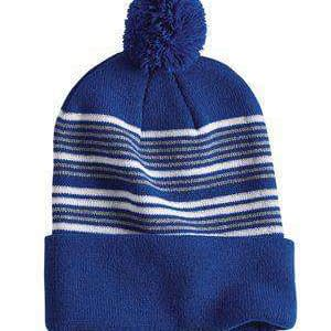 Sportsman Pom-Pom Cuffed Striped Knit Beanie - SP60