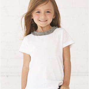 Rabbit Skins Toddler Girl's Ruffle Neck T-Shirt - 3329