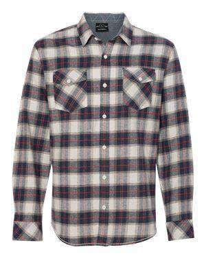 Burnside Men's Pocket Long Sleeve Plaid Flannel Shirt - 8210