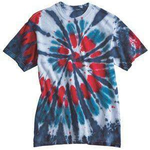 Dyenomite Men's Multi-Color Cut-Spiral Tie-Dye T-Shirt - 200T2