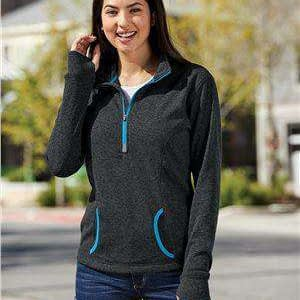 J America Women's Pocket 1/4-Zip Sweatshirt - 8617