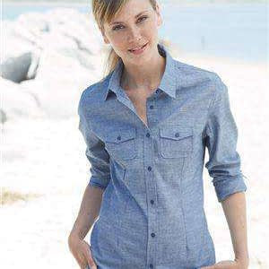 Burnside Women's Pocket Long Sleeve Chambray Shirt - 5255