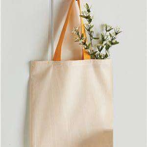 Q-Tees Economy Contrast Canvas Tote Bag - QTB6000