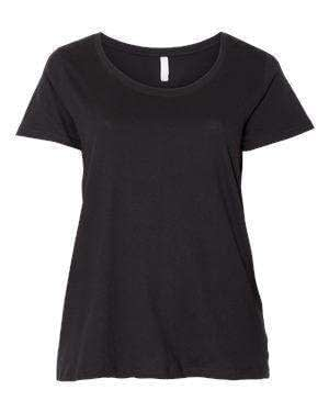 LAT Women's Curvy Collection Scoop Neck T-Shirt - 3804