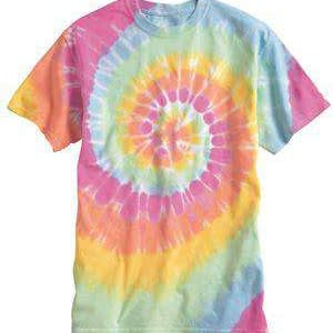 Dyenomite Men's Multi-Color Spiral Tie-Dye T-Shirt - 200MS