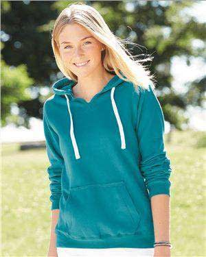 J America Women's Raw Edge Seam Hoodie Sweatshirt - 8836