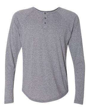 Next Level Men's Tri-Blend Long Sleeve Henley Shirt - 6072
