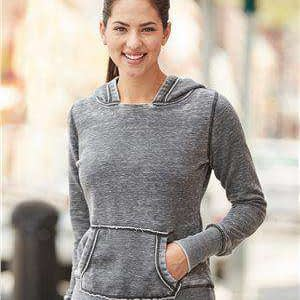 J America Women's Zen Fleece Pocket Hoodie Sweatshirt - 8912