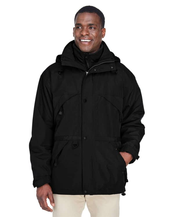 North End Men's 3-in-1 Dobby Trim Hooded Parka - 88007