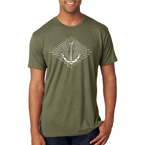 Crossfit Dumbell and Anchor Flag Tri-Blend T Shirt