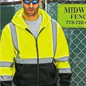 ML Kishigo Men's Hi-Viz Full-Zip Hoodie Sweatshirt - 103