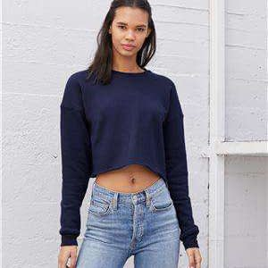 Bella + Canvas Women's Crop Raw Hem Sweatshirt - 7503