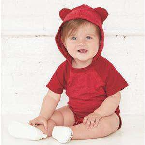 Rabbit Skins Infant Ears Hoodie Bodysuit - 4417