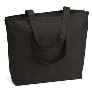 Q-Tees Zipper Closure Canvas Tote Bag - Q611