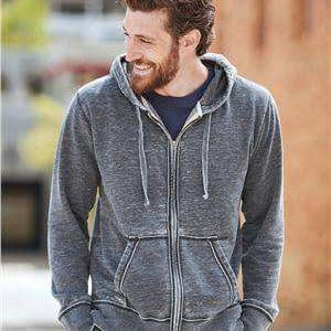 J America Men's Full-Zip Drawcord Hoodie Sweatshirt - 8916