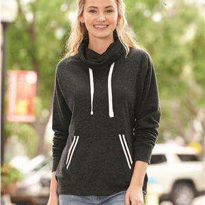 J America Women's Relay Pouch Cowl Neck Sweatshirt - 8653