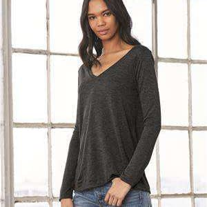 Bella + Canvas Women's Flowy Long Sleeve V-Neck T-Shirt - 8855